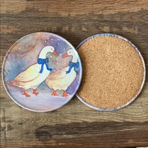 Vintage Set of J.S.N.Y Winter Geese Coasters